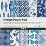 Design papierblok, blauw, 15,2x15,2 cm, 120 gr, 50 vel/ 1 doos