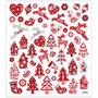 Fancy stickers, vel 15x16,5 cm, circa 54 stuk, rood/witte Kerst, 1vel