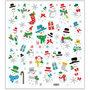 Fancy stickers, vel 15x16,5 cm, circa 60 stuk, sneeuwpoppen, 1vel