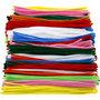 Chenilledraad, diverse kleuren, L: 30 cm, dikte 4+6+9 mm, 700 div/ 1 doos