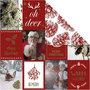 Design papier, goud, rood, kerstmotieven & denneappels, 180 gr, 3 vel/ 1 doos