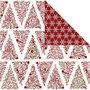 Design papier, goud, rood, wit, kerstbomen & ijskristallen, 30,5x30,5 cm, 180 gr, 3 vel/ 1 doos