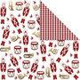 Design papier, goud, rood, wit, notenkraker, 180 gr, 3 vel/ 1 doos