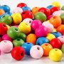 Houten kralen mix, diverse kleuren, d: 8 mm, gatgrootte 1,5-2 mm, 16 gr/ 1 doos