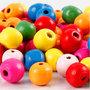 Houten kralen mix, diverse kleuren, d: 10 mm, gatgrootte 2,5-3 mm, 22 gr/ 1 doos