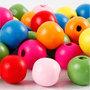 Houten kralen mix, diverse kleuren, d: 12 mm, gatgrootte 2,5-3 mm, 22 gr/ 1 doos