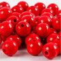 Houten kralen, rood, d: 12 mm, gatgrootte 3 mm, 22 gr/ 1 doos, 40 stuk