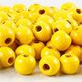 Houten kralen, geel, d: 12 mm, gatgrootte 3 mm, 22 gr/ 1 doos, 40 stuk