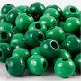 Houten kralen, groen, d: 12 mm, gatgrootte 3 mm, 22 gr/ 1 doos, 40 stuk