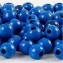 Houten kralen, blauw, d: 10 mm, gatgrootte 3 mm, 20 gr/ 1 doos, 70 stuk