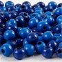 Houten kralen, blauw, d: 8 mm, gatgrootte 2 mm, 15 gr/ 1 doos, 80 stuk