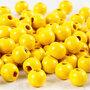 Houten kralen, geel, d: 8 mm, gatgrootte 2 mm, 15 gr/ 1 doos, 80 stuk