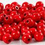 Houten kralen, rood, d: 8 mm, gatgrootte 2 mm, 15 gr/ 1 doos, 80 stuk