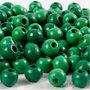Houten kralen, groen, d: 8 mm, gatgrootte 2 mm, 15 gr/ 1 doos, 80 stuk