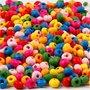 Houten kralen mix, diverse kleuren, d: 4 mm, gatgrootte 1-1,5 mm, 15 gr/ 1 doos
