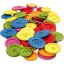 Houten knopen, diverse kleuren, d: 25-40 mm, 2-4 gaten, 144 stuk/ 1 doos