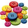Houten knopen, diverse kleuren, d: 12-20 mm, 2-4 gaten, 360 stuk/ 1 doos
