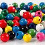 Houten kralen, diverse kleuren, d: 8 mm, gatgrootte 2 mm, 200 gr/ 1 doos