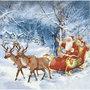 Servetten, afm 33x33 cm, kerstman met slee, 20stuks