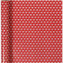 Inpakpapier, rood, wit, trommel, B: 70 cm, 80 gr, 4 m/ 1 rol