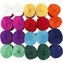 Crepepapier rollen, diverse kleuren, L: 20 m, B: 5 cm, 22 gr, 20 rol/ 1 doos
