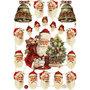 Vintage plaatjes, vel 16,5x23,5 cm, , kerstman met bellen, 3vellen