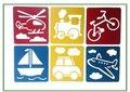 Teken Sjablonen Kinderen - Stencils Tekenen - Voertuigen - Helikopter, Trein, Fiets, Boot, Auto, Vliegtuig  - 6 stuks
