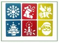 Teken Sjablonen - Stencils Tekenen - Kerst symbolen - Kerstman, Kerstboom, Kerstengel, Kerstster, Kerstsok, Kaarsje - 6 stuks